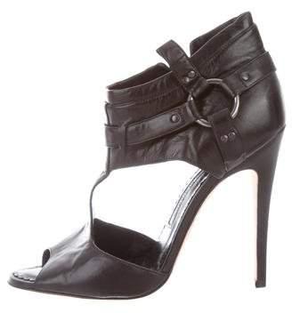 Manolo Blahnik Leather Peep-Toe Sandals