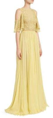 Murad Zuhair Hibiscus Embroidered Cold-Shoulder A-Line Gown