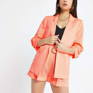 River Island Womens Petite Orange ruched sleeve blazer