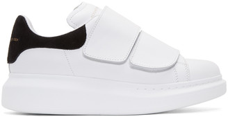 Alexander McQueen White Leather Velcro Sneakers $575 thestylecure.com