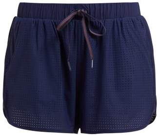The Upside Track Perforated Running Shorts - Womens - Navy