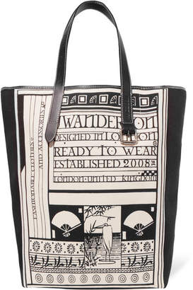 J.W.Anderson Leather-trimmed Printed Canvas Tote - Black