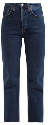 Re/Done Originals Re/done Originals - Stove Pipe High Rise Straight Leg Jeans - Womens - Dark Blue