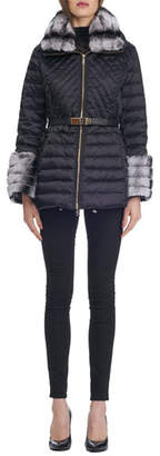 Gorski Zip-Front Belted Quilted Après-Ski Jacket with Rex Rabbit Fur