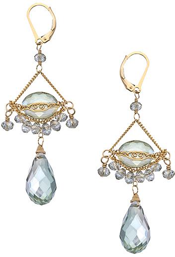 Swarovski Sophia & Chloe Gold and Mint Green Crystal Phoebe Chandelier Earrings