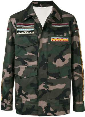 Valentino embroidered camouflage jacket