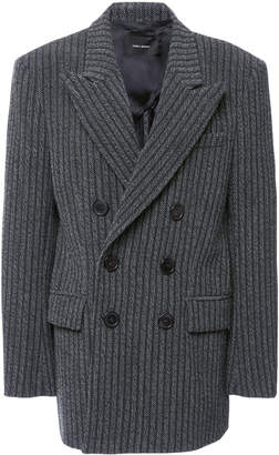 Isabel Marant Jaxen Pin-Striped Wool-Blend Double-Breasted Blazer