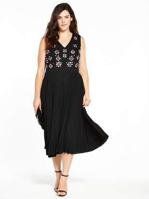 Lost Ink Plus Pleated Hem Dress With Embellishment - Black