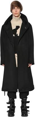 Yohji Yamamoto Hooded Flannel Wool Long Coat