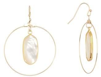 Panacea White Stone Hoop Drop Earrings