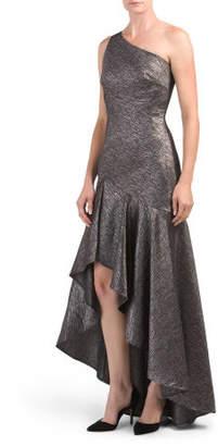 One Shoulder Striped Jacquard Dress