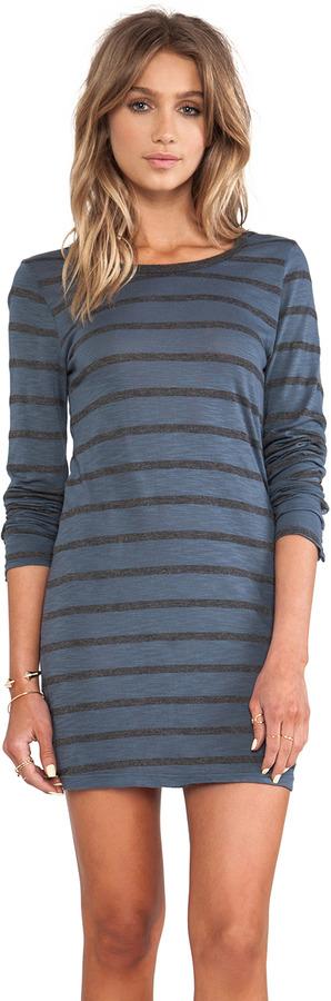 Velvet by Graham & Spencer Fern Charcoal Slub Stripe Long Sleeve Dress