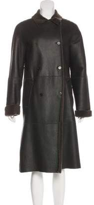 Calvin Klein Collection Leather Shearling Coat