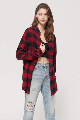Urban Renewal Vintage Recycled Oversized Flannel Button-Down Shirt