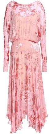 Silk-Blend Devoré-Chiffon Midi Dress