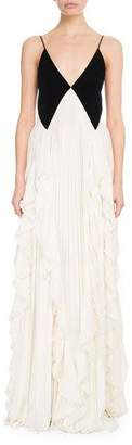Givenchy Sleeveless Contrast V-Neck Pleated Gown