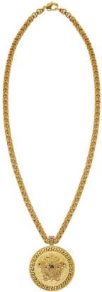 Versace Gold Large Round Medusa Chain Necklace $995 thestylecure.com