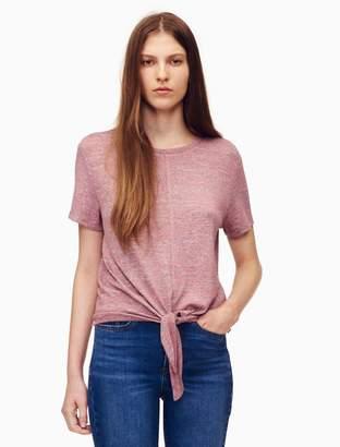 Calvin Klein tie front heathered short sleeve t-shirt