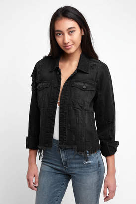 Blank NYC Cropped Uneven Fray Hem Denim Jacket