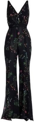 Nicholas Lace-Trimmed Floral-Print Silk-Chiffon Jumpsuit