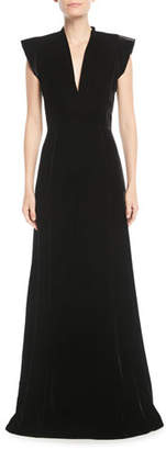 Derek Lam V-Neck Cap-Sleeve A-Line Velvet Evening Gown