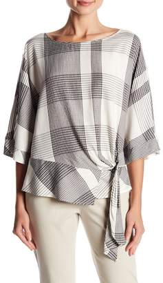 Vince Camuto Oversize Plaid Dolman Sleeve Side Tie Top (Regular & Petite)