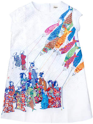 Papergirl Collection Kites Cotton Dress - White, Size 5-6y