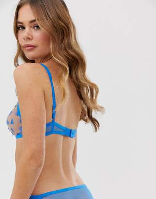 Vanity Fair transparent lace bra with blue detail