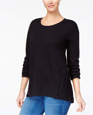 Style&Co. Style & Co Scoop-Neck Lace-Up Knit Top, Created for Macy's