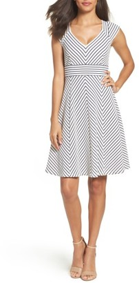 Women's Adrianna Papell Stripe Fit & Flare Dress $130 thestylecure.com