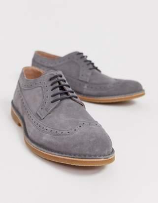 Selected suede brogue shoe in gray