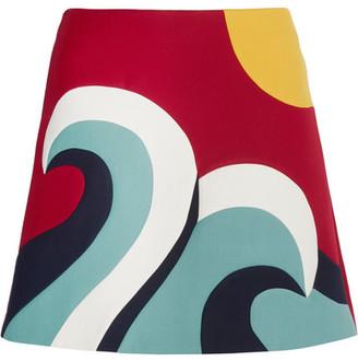 REDValentino - Color-block Cotton-blend Crepe Mini Skirt $495 thestylecure.com