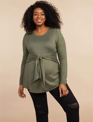 Motherhood Maternity Plus Size Tie Waist Maternity Top