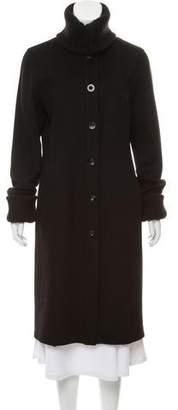 Sofia Cashmere Rib Knit-Trimmed Long Coat