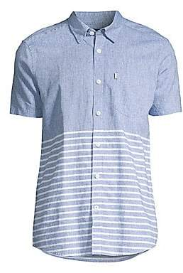 Barbour Men's Nautical Tailor-Fit Stripe Chambray Short-Sleeve Shirt