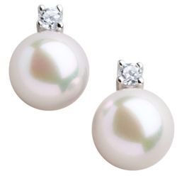 Majorica Organic Man-Made Pearl and Cubic Zirconia Stud Earrings