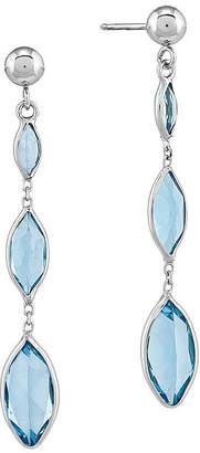 FINE JEWELRY Genuine Swiss Blue Topaz 14K White Gold Three-Stone Earrings