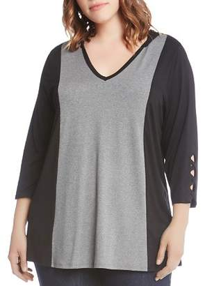 Karen Kane Plus Hooded Color Block Top