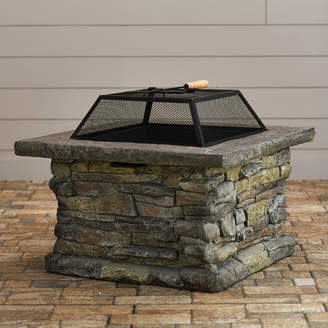 Laurèl Foundry Modern Farmhouse Colton Faux Stone Wood Burning Fire Pit Table