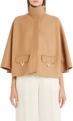 Valentino V-Detail Double Face Wool & Angora Capelet