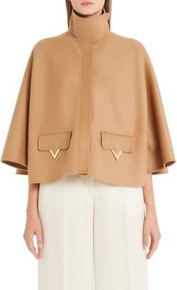 Valentino V-Detail Double Face Wool & Angora Capelet