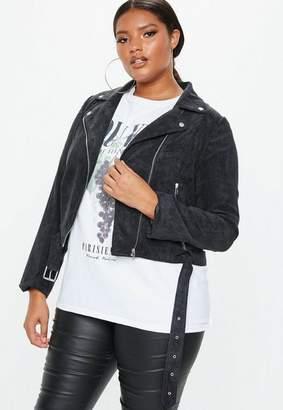 Missguided Plus Size Black Cord Aviator Jacket