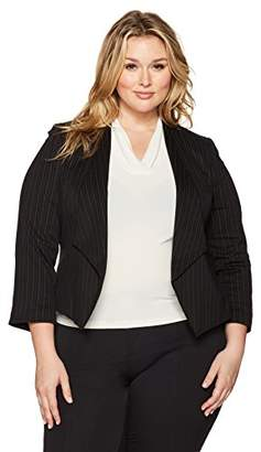 Nine West Women's Plus Size Wing Lapel Kiss Front Foil Print Stripe Jacket