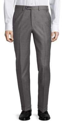 Brioni Diagonal Wool Flat Front Trousers