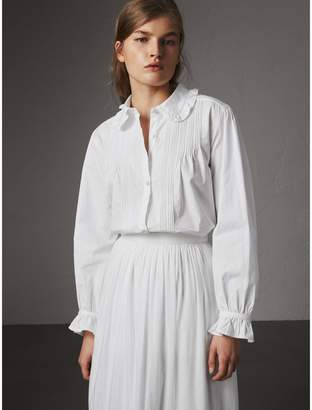 Burberry Ruffle and Pintuck Detail Cotton Shirt