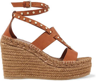 Jimmy Choo Denise 110 Studded Leather Espadrille Wedge Sandals - Light brown