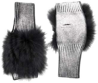 Jocelyn Savage Love Metallic Knit Fox Fur Fingerless Mittens