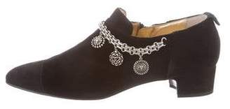 Chanel 2016 Medallion Velvet Boots