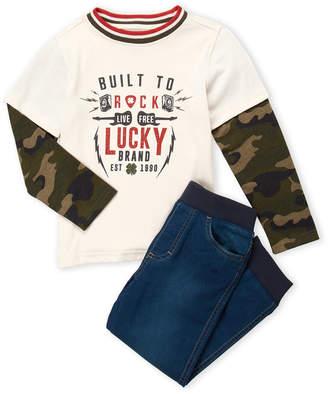 Lucky Brand Boys 4-7) Two-Piece Camo Sleeve Tee & Denim Joggers Set