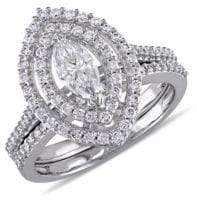 Concerto 1TCW Diamond Halo Bridal Set in 14k White Gold
